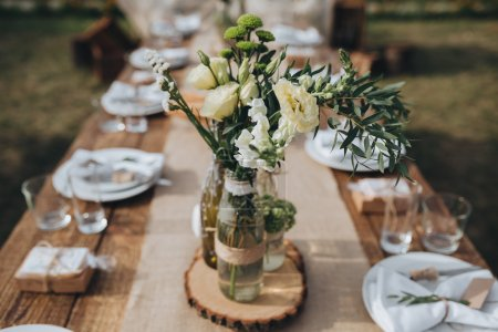 The composition of flowers and greenery