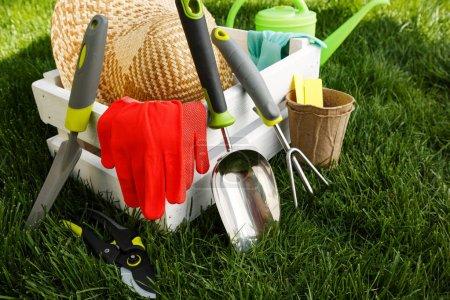 Photo pour Outils de jardinage et un chapeau de paille sur l'herbe dans le jardin - image libre de droit