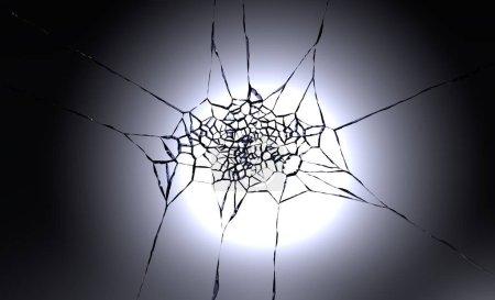3D illustration of destructed or shattered glass surface over black background