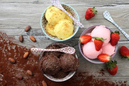 different sweet ice cream balls