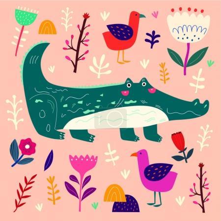 Cute crocodile and plants