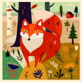 Amazing colorful Art vector Illustration with cute Fox and flowers for design and decor Impressionism style Hand drawn vector pattern hand painted