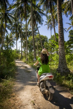 Photo for Back view of young happy tourist woman with hat riding scooter motorbike in tropical paradise jungle  with blue sky and palm trees exploring trip destination and Summer holidays travel in Asia - Royalty Free Image