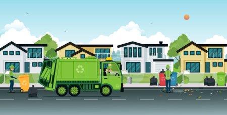 Illustration pour Camion à ordures qui emploie des ordures dans les rues . - image libre de droit