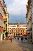 WIESBADEN, GERMANY - MAY 24: Pedestrian street Marktstrasse in h