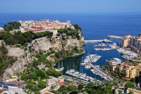 View of Monaco City with boat marina below in Monaco.