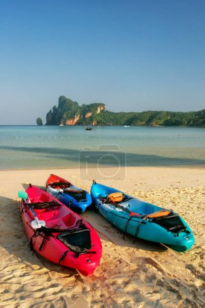 Colorful kayaks at Ao Loh Dalum beach on Phi Phi Don Island, Kra