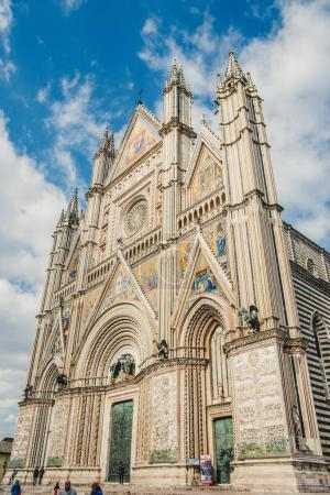ORVIETO, ROME SUBURB, ITALY - MARCH 14, 2018: low angle view of orvieto cathedral