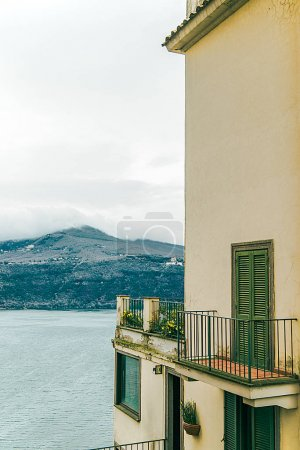 building with beautiful view on lake albano and alban hills in Castel Gandolfo, Rome suburb, Italy