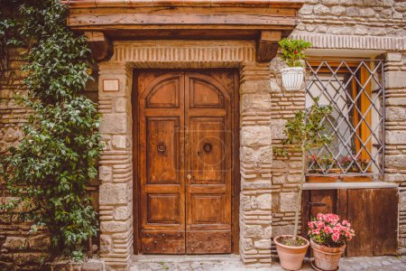old building with wooden doors and potted plants on street in Castel Gandolfo, Rome suburb, Italy