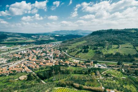 aerial view of beautiful hills and Orvieto city, Rome suburb, Italy