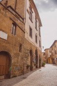 empty street and buildings in Orvieto, Rome suburb, Italy