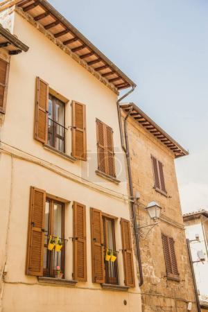 facade of two old buildings in Orvieto, Rome suburb, Italy