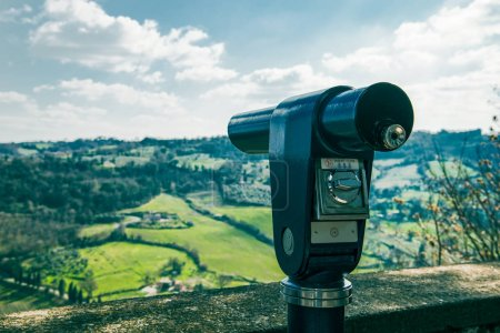 Photo for Binoculars on sightseeing terrace and hills on background in Orvieto, Rome suburb, Italy - Royalty Free Image
