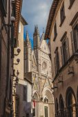 ancient historical Orvieto Cathedral and buildings in Orvieto, Rome suburb, Italy