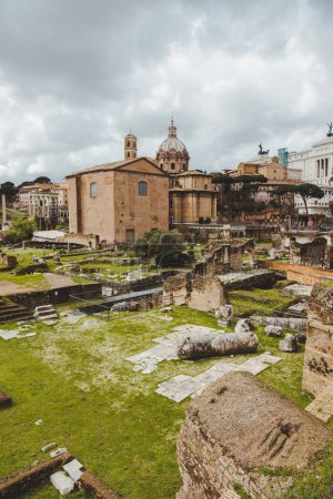 famous roman forum ruins on cloudy day, Rome, Italy