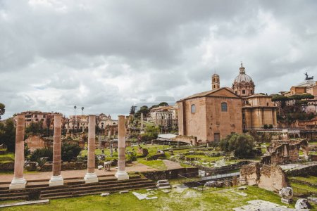 Photo for Beautiful roman forum ruins on cloudy day, Rome, Italy - Royalty Free Image