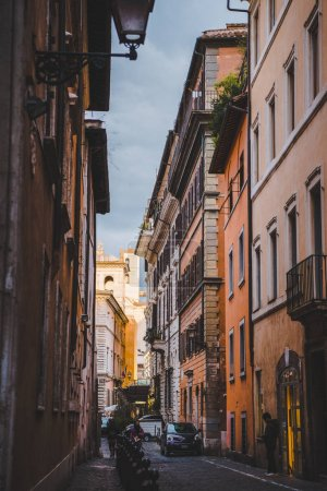 ROME, ITALY - 10 MARCH 2018: ancient buildings on narrow street of Rome