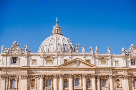 beautiful St. Peter's Basilica under blue sky, Vatican, Italy