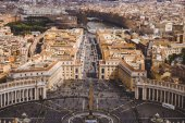 aerial view of crowded people at St. Peter's square, Vatican, Italy