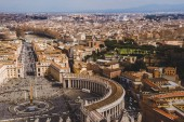 aerial view of ancient buildings of Vatican, Italy