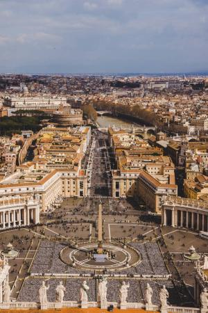 Photo for Aerial view of St. Peter's square with crowd of people, Vatican, Italy - Royalty Free Image