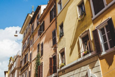 beautiful old buildings on street of Rome, Italy