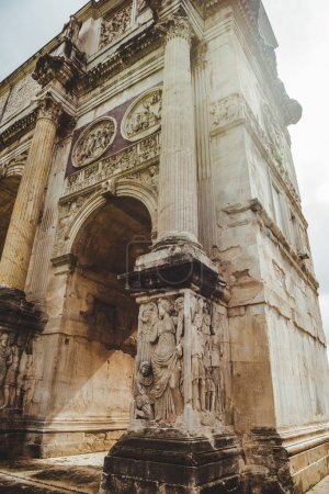 bottom view of beautiful Arch of Constantine, Rome, Italy