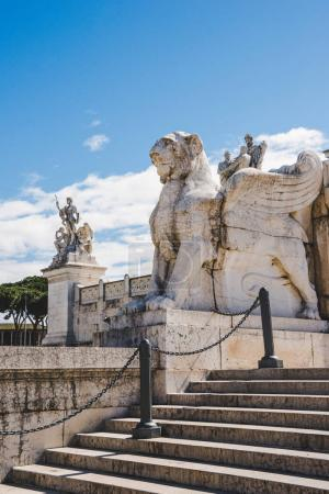 Photo for Winged lion statue on Altare della Patria (Altar of the Fatherland), Rome, Italy - Royalty Free Image