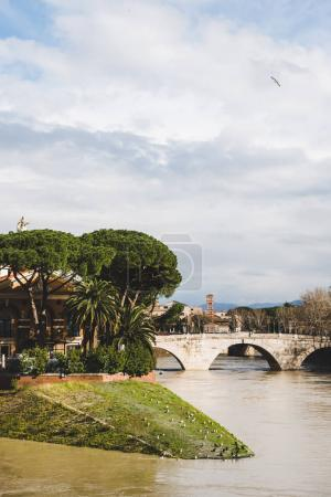 bridge above Tiber river in Rome, Italy