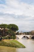 "Постер, картина, фотообои ""Мост над рекой Тибр в Риме, Италия"""