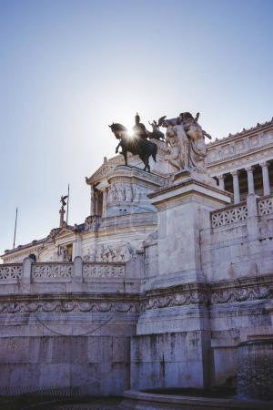 Photo for National Monument to Victor Emmanuel II at Altar of the Fatherland with sunlight in Rome, Italy - Royalty Free Image