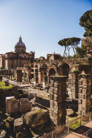 Photo for Saint Luca Martina church and ancient Roman Forum ruins in Rome, Italy - Royalty Free Image