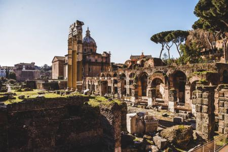 Photo for Saint Luca Martina church and arch at Roman Forum ruins in Rome, Italy - Royalty Free Image