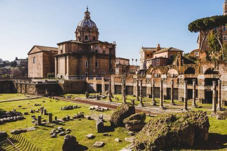 Photo for Saint Luca Martina church at historical Roman Forum ruins in Rome, Italy - Royalty Free Image