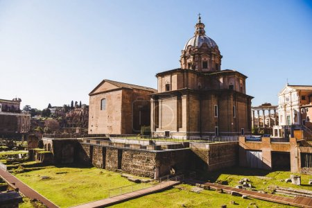Photo for Antique Saint Luca Martina church at Roman Forum ruins in Rome, Italy - Royalty Free Image