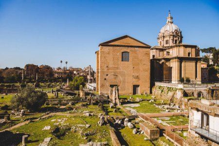 old Saint Luca Martina church at Roman Forum ruins in Rome, Italy