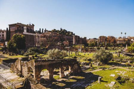 Photo for Ancient Roman Forum ruins in Rome, Italy - Royalty Free Image
