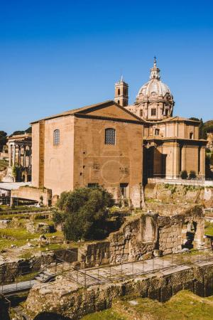 Saint Luca Martina church at Roman Forum ruins in Rome, Italy