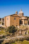 Saint Luca Martina church at Roman Forum ruins in Rome, Italy