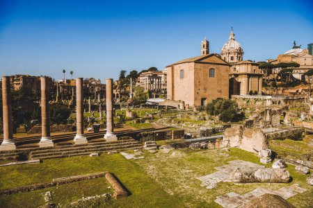 Photo for Saint Luca Martina church and Roman Forum ruins in Rome, Italy - Royalty Free Image