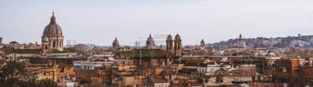 Photo for Panorama view of St Peters Basilica and buildings in Rome, Italy - Royalty Free Image