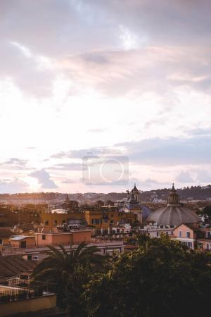 Photo for Beautiful view of Rome city with buildings during sunrise, Italy - Royalty Free Image