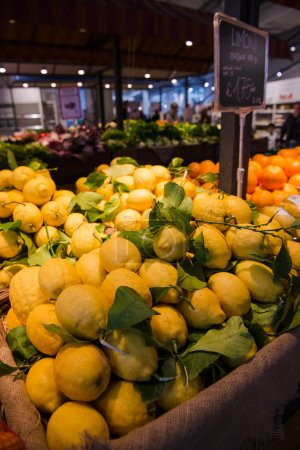 Photo for Close-up shot of fresh fruits selling on farmers market, Rome, Italy - Royalty Free Image