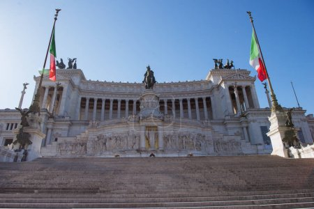 Photo for National Monument to Victor Emmanuel II with Italian flag in Rome, Italy - Royalty Free Image