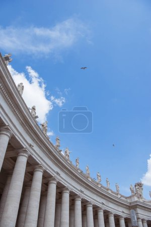 Photo for Bottom view of statues at St Peters Square on blue sky in Vatican, Italy - Royalty Free Image