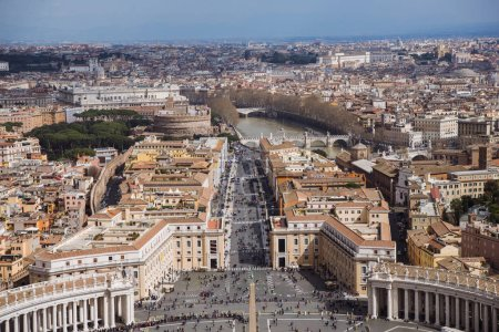 Photo for Aerial view of St. Peter's square with Bernini colonnade, Vatican, Italy - Royalty Free Image