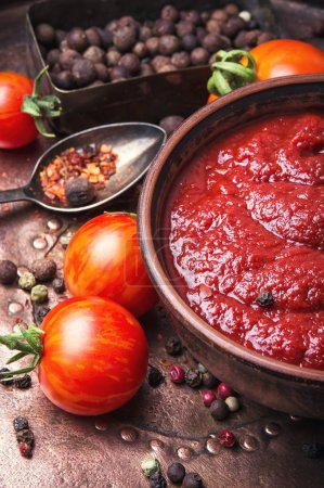 Photo for Tomato ketchup sauce with garlic and peppercorn - Royalty Free Image