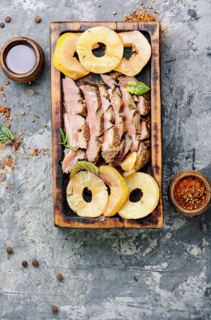 Photo for Baked duck meat with pineapple sauce.Fried duck breast - Royalty Free Image