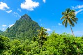 Bottom view of Gros and Petit Pitons on Caribbean island St Lucia.